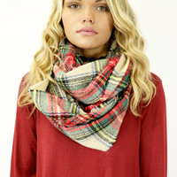 The Norfolk Ivory & Red Tartan Plaid Knit Infinity Scarf With Frayed Hem