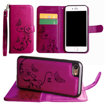 iPhone 7 Leather Butterfly Design Wallet Case