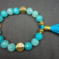 Aqua Agate Gemstone with Gold and Tassel Beaded Bracelet