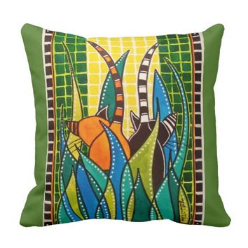 Hide And Seek - Whimsical Cat Art Throw Pillow