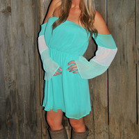 MINT DELIGHT OFF THE SHOULDER CHIFFON DRESS