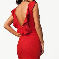 Solid plus size hollow out Noble Black/Red Textured Bodycon Dress with Ruffled Backless dress  vestidos winter dress LC21078