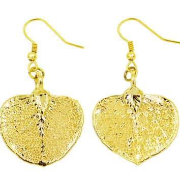 Real Leaf Hook Drop EARRINGS EUCALYPTUS 24K Yellow Gold Dipped Genuine Leaf
