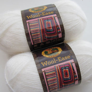 2 Skeins Lion Brand Wool-Ease White Frost Worsted Weight Wool Blend Yarn, Brand New, Great for Sweaters & Blankets