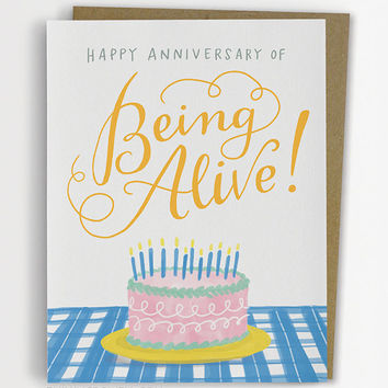 Anniversary of Being Alive Birthday Card, Funny Birthday Card / No. 230-C