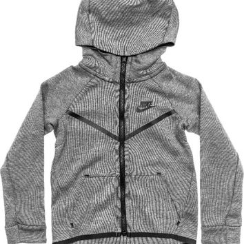 NIKE SPORTSWEAR TECH FLEECE PRESCHOOL HOODIE (CARBON HEATHER/BLACK)
