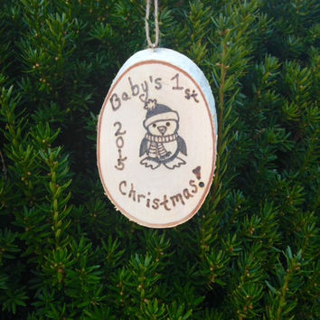 Baby's First Christmas Wood Slice Ornament, Wood Burned Christmas Ornament,  Baby's First Christmas, Wooden Christmas Ornament.Personalized