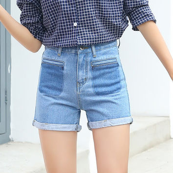 SEJIAN 2017 Denim Shorts Women Jeans Summer Blue Vintage Curling Short Pants High Waist Ripped Jeans For Women Boyfriend Shorts