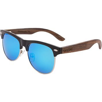 Mens & Women's Vintage Hybrid Dark Walnut Clubmaster Sunglasses - Blue Polarized Lenses