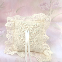 Lace Ring Bearer Pillow, Hand-knitted Natural White Pillow, Lily of the Valley Pattern, Blue beads, Wedding Accessory