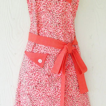 Coral Speckled Print Apron, Orange, Pink, Retro Style, Full Apron, KitschNStyle