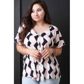 Geometric Print Cold Shoulder Button Up Top