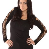 Folter Clothing Black Open Braided Arm Top Sexy Top