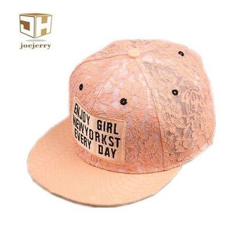ESBG8W joejerry Harajuku Lace Floral Wome Baseball Cap Leather Snapback Caps Cute Letter Hat Girls Free Size