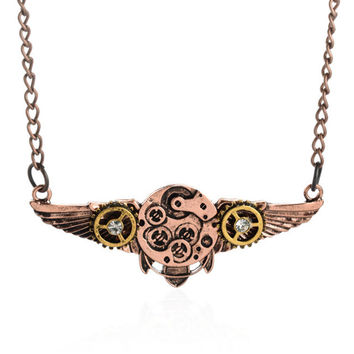 2015 Steampunk Style Vintage Angel wings Machinery Pendant Necklace Mysterious Necklace Punk Summer Cloth Jewelry Best Gift