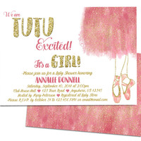 Tutu Excited Girl Baby Shower Invitation Ballet