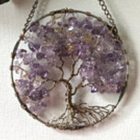 SunCatcher Tree of Life - Ametrine and Citrine Gemstone on Silver Wire Wrapped Tree - Sun Catcher Window Wall Ornament Handmade Gemstones