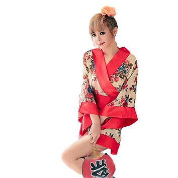 Women Short Kimono Robe Apricot Flowers Patterned Japanese Traditional Style Gown Sauna Robe for Night Club