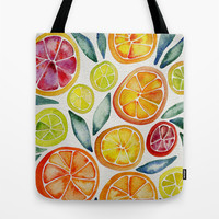 Sliced Citrus Watercolor Tote Bag by Cat Coquillette