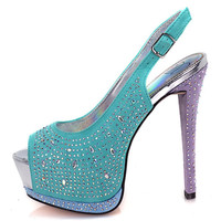 Kita Rhinestone Studded SlingBack Pump High Heel Party Club Shoe
