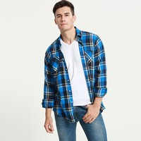 Plaid Men Shirt Long Sleeve Slim Fit Flannel Men's Shirt Plaid Autumn Winter Men Dress Shirts Casual Chemise Homme
