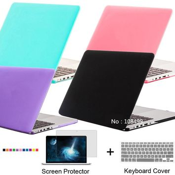 NEW Frosted Matte Case Cover For Macbook Air Pro 11.6 12 13.3 15.4 Pro Retina 13.3 Air 15.4 inch + Screen Film + Keyboard Film