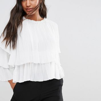 Boohoo Pleated Ruffle Sleeve Top