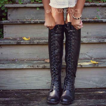Boston Bridges Black Lace Up Tall Boot