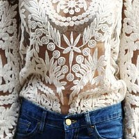 Beige Floral Crochet Lace Sheer Mesh Long Sleeve Blouse Top