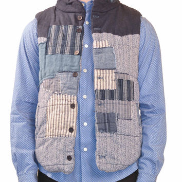 Creep Indigo Blue Patchwork Boro Vest