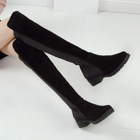 Women Boots 2016 Autumn Winter Ladies Slim Low Heel Suede Leather Long Boots Shoes Over The Knee Thigh High Long Boot black