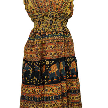 Bohemian Dress V-neck Animal And Floral Printed Cotton Yellow Peasant Dresses