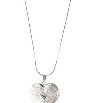 Floral Heart Locket Necklace Antique Silver Tone Etched Flower Pendant NO11 Fashion Jewelry