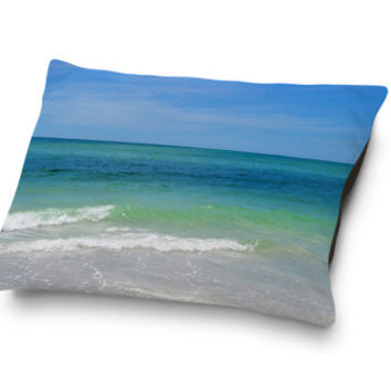 Blue Green Sea - Pet Bed, Beach Surf Style Dog & Cat Bedding Decor, Soft Plush Coral Fleece Bedroom Companion. In 18x28 30x40 40x50 Inches