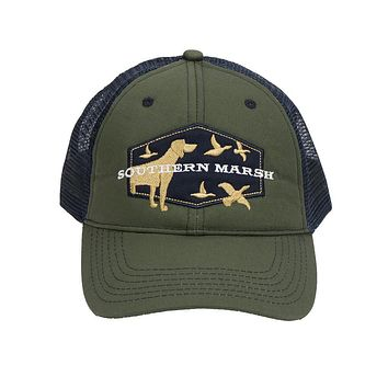 Hunting Dog Trucker Hat in Dark Olive by Southern Marsh