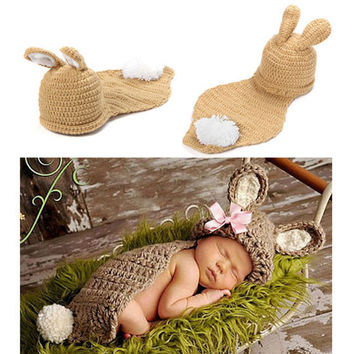 Baby Bunny Rabbit Hat & Cape Knit Newborn Outfit