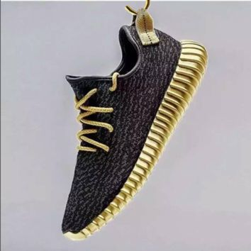 """Adidas"" Women Yeezy Boost Sneakers Running Sports Shoes Black golden H Z"