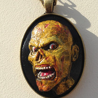 Yellow and Black Polymer Clay Zombie Cameo Pendant Necklace