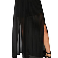 Papaya Clothing Online :: CUT-OUT PLEATS CHIFFON MAXI SKIRT