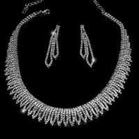 Docia Elegant Rhinestone Choker Necklace Set | Crystal