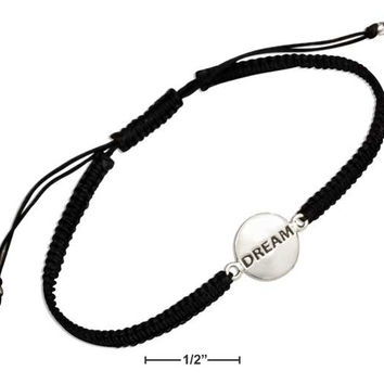 "STERLING SILVER ""DREAM"" TAG BRACELET ON 6""-9"" LIGHTWEIGHT MACRAME BLACK CORD"