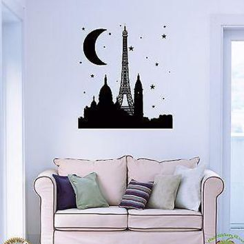 Wall Sticker Eiffel Tower Paris France Night Travel Cool Decor  Bedroom Unique Gift z1510