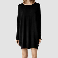 Womens Maher Jumper Dress (Black/Cinder) | ALLSAINTS.com