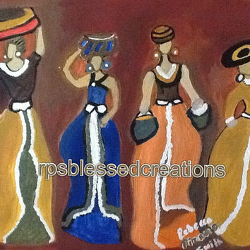 You claim I can't cook, women abstract painting, sisters painting, african Art, african painting, female painting