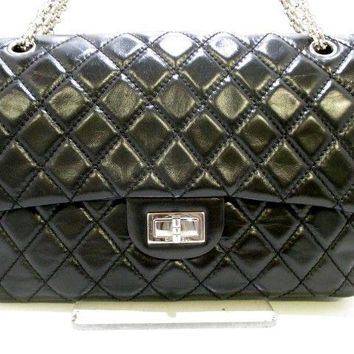 Auth CHANEL 2.55/Large Matelasse Black Vintage Calf Shoulder Bag Double Flap