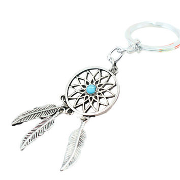 Ancient silver Dreamcatcher Keychain Leaf feather tassel Turquoise
