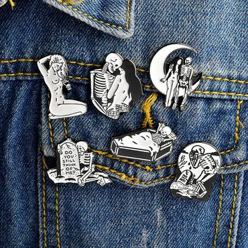 Pins and Brooches Black White Skeleton and Girl Enamel Pins Skeleton Pin Punk Brooch Badges Gothic Jewelry