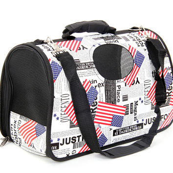 Pet Dog Carrier Foldable Pet Crate Dog Carrier Bag Pet  Slings Bag For Travel Luggage Flag Pattern American Style Lovely Bag