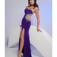 Jasz Couture 2013 Prom - One Shoulder Purple Rhinestoned Chiffon Gown - Unique Vintage - Cocktail, Pinup, Holiday & Prom Dresses.