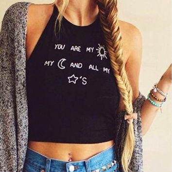 Black Sleeveless Letter and Moon Print Tank Top